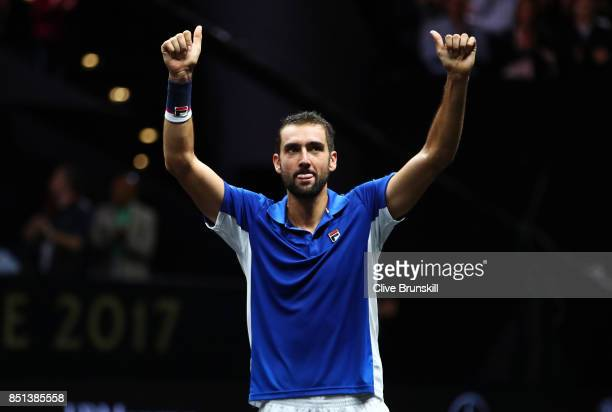 Marin Cilic of Team Europe celebrates after winning his singles match against Frances Tiafoe of Team World on the first day of the Laver Cup on...