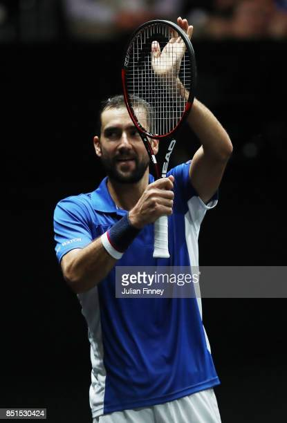 Marin Cilic of Team Europe celebrates after winning match point after his singles match against Frances Tiafoe of Team World on the first day of the...