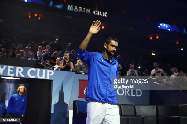 Marin Cilic of Team Europe is introduced to the crowd on the first day of the Laver Cup on September 22 2017 in Prague Czech Republic The Laver Cup...