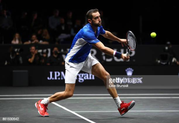 Marin Cilic of Team Europe plays a forehand during his singles match against Frances Tiafoe of Team World on the first day of the Laver Cup on...