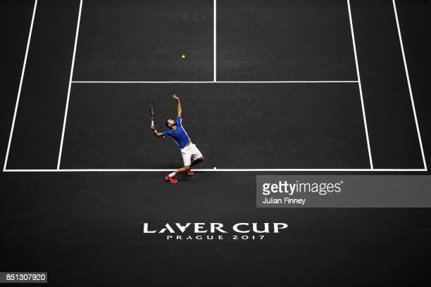 Marin Cilic of Team Europe serves during his singles match against Frances Tiafoe of Team World on the first day of the Laver Cup on September 22...