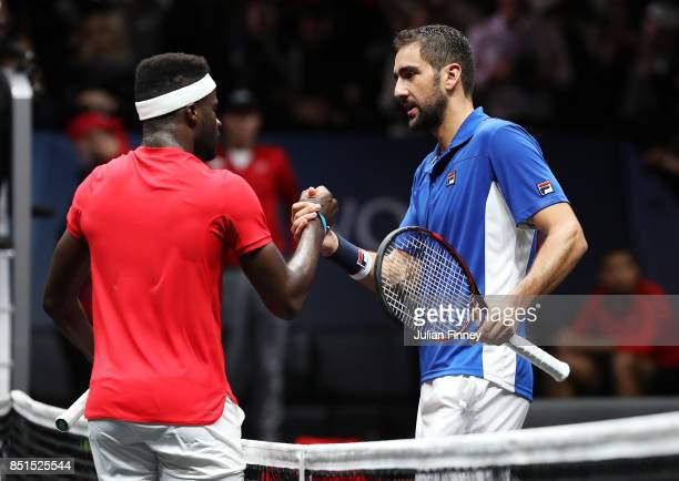 Marin Cilic of Team Europe shakes hands with after winning his singles match with Frances Tiafoe of Team World on the first day of the Laver Cup on...