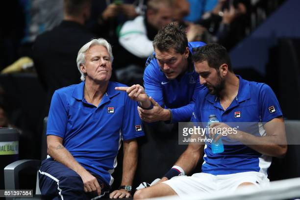 Marin Cilic of Team Europe talks with Bjorn Borg Captain of Team Europe and Thomas Enqvist during his singles match against Frances Tiafoe of Team...