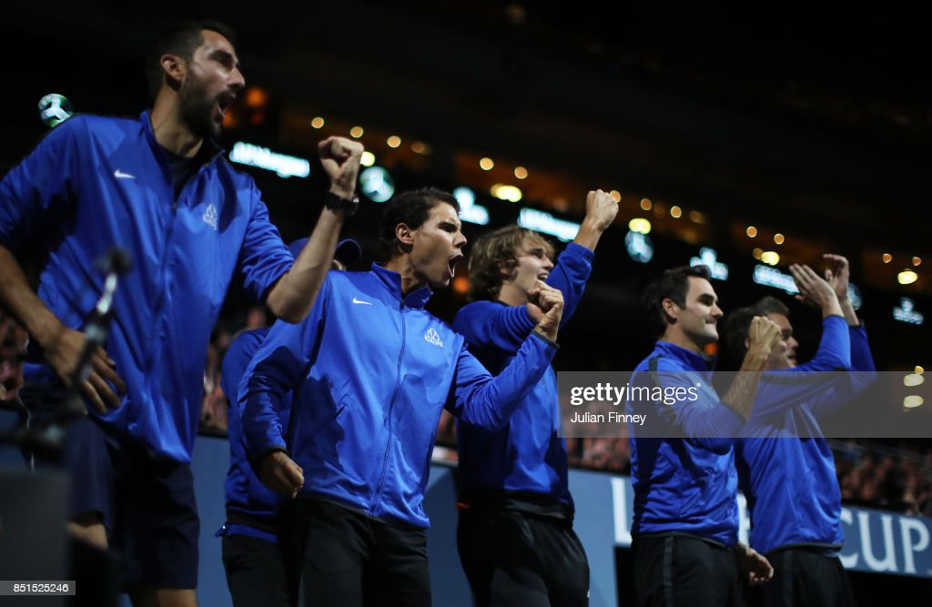 Marin Cilic, Rafael Nadal, Alexander Zverev, Roger Federer and Thomas Enqvist of Team Europe celebrate as they watch the singles match between Dominic Thiem of Team Europe and John Isner of Team World on the first day of the Laver Cup on September 22, 2017 in Prague, Czech Republic. The Laver Cup consists of six European players competing against their counterparts from the rest of the World. Europe will be captained by Bjorn Borg and John McEnroe will captain the Rest of the World team. The event runs from 22-24 September.