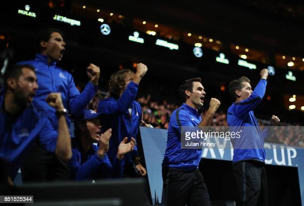 Marin Cilic Rafael Nadal Tomas Berdych Alexander Zverev Roger Federer and Thomas Enqvist of Team Europe celebrate as they watch the singles match...