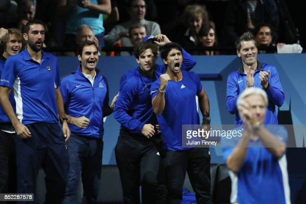 Marin Cilic Roger Federer Dominic Thiem and Fernando Verdasco of Team Europe support Rafael Nadal of Team Europe as he wins his singles match against...
