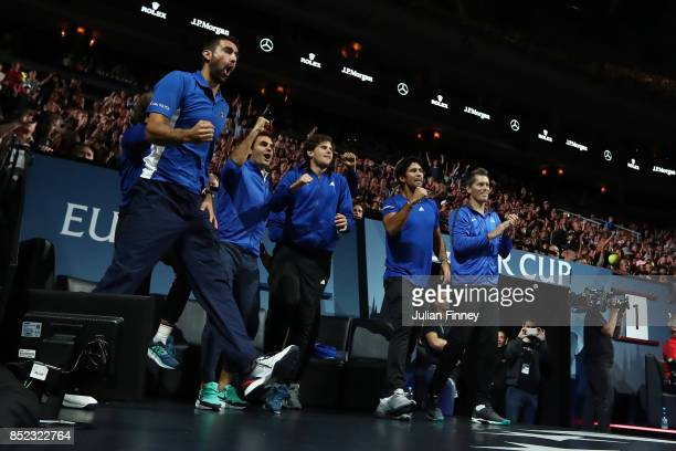 Marin Cilic Roger Federer Dominic Thiem Fernando Verdasco and Thomas Enqvist of Team Europe celebrate as Rafael Nadal of Team Europe plays his...