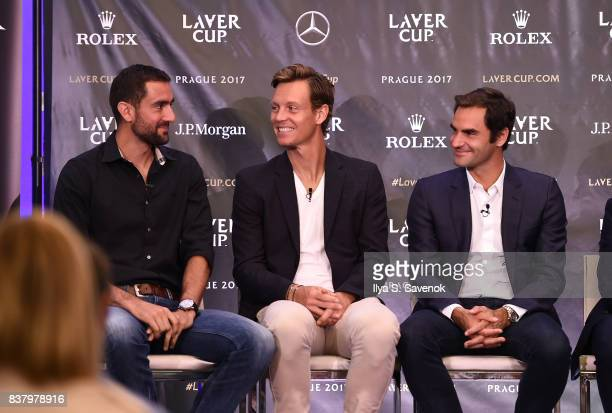 Marin Cilic Tomas Berdych and Roger Federer attend Laver Cup Team Announcement on August 23 2017 in New York City