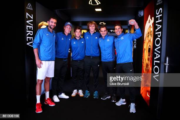 Marin Cilic Tomas Berdych Dominic Thiem Alexander Zverev Roger Federer and Rafael Nadal of Team Europe wait to enter the arena on the first day of...