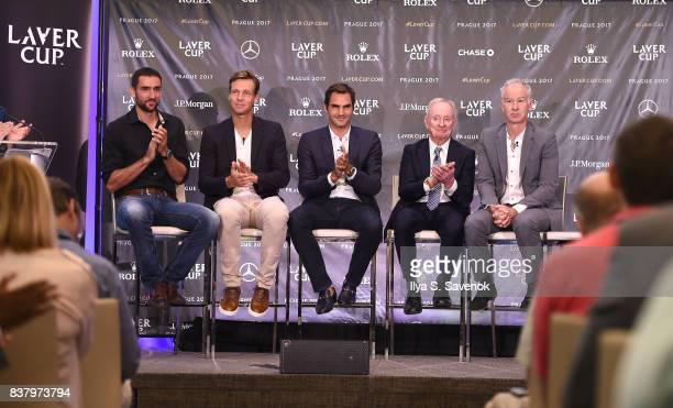 Marin Cilic Tomas Berdych Roger Federer Rod Laver and John McEnroe attend Laver Cup Team Announcement on August 23 2017 in New York City
