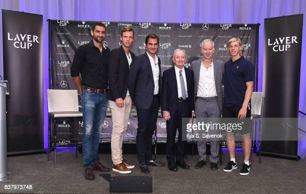 Marin Cilic Tomas Berdych Roger Federer Rod Laver John McEnroe and Denis Shapovalov attend Laver Cup Team Announcement on August 23 2017 in New York...