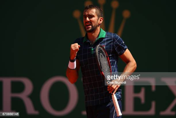 Marin Cillic of Croatia celebrates a point against Tomas Berdych of the Czech Republic in his third round match on day five of the Monte Carlo Rolex...