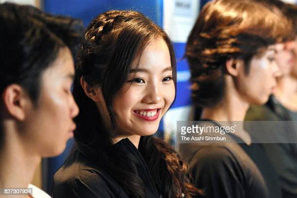 Marin Honda attends a press conference after the Prince Ice World 2017 in Nikko at Nikko Kirifuri Ice Arena on August 5 2017 in Nikko Tochigi Japan