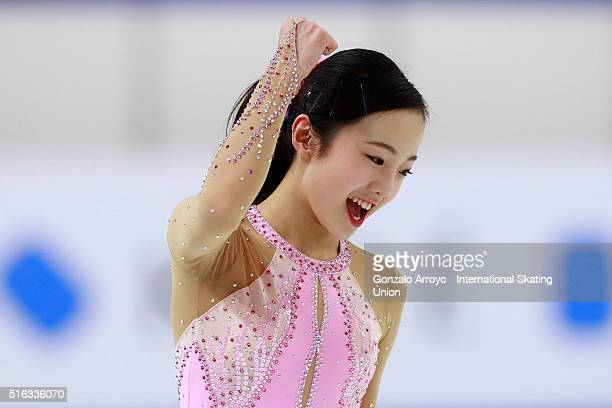 Marin Honda from Japan celebrates during the Ladie's short program of the ISU World Junior Figure Skating Championships 2016 at The Fonix Arenaon...