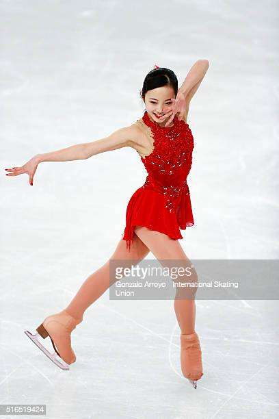 Marin Honda From Japan skates during the Ladie's Free Skating program of the ISU World Junior Figure Skating Championships 2016 at The Fonix Arena on...