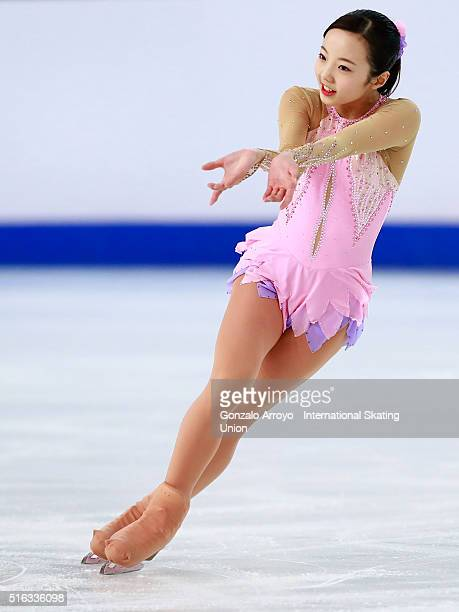 Marin Honda from Japan skates during the Ladie's short program of the ISU World Junior Figure Skating Championships 2016 at The Fonix Arenaon March...