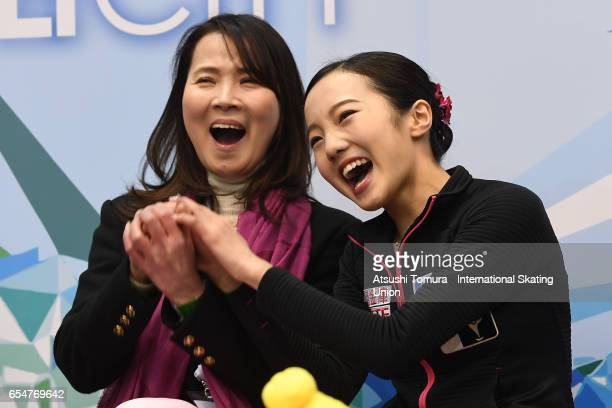 Marin Honda of Japan celebrates at kiss and cry in the Junior Ladies Free Skating during the 4th day of the World Junior Figure Skating Championships...