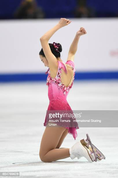 Marin Honda of Japan competes in the Junior Ladies Free Skating during the 4th day of the World Junior Figure Skating Championships at Taipei...
