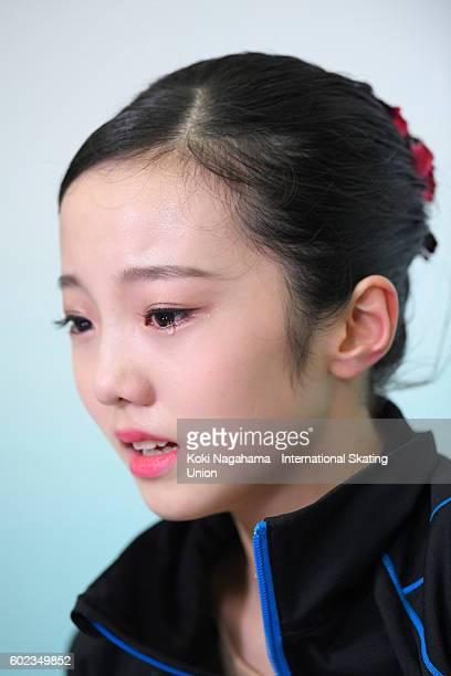 Marin Honda of Japan cries for joy in the junior women's free program during the ISU Junior Grand Prix of Figure Skating Yokohama on September 11...