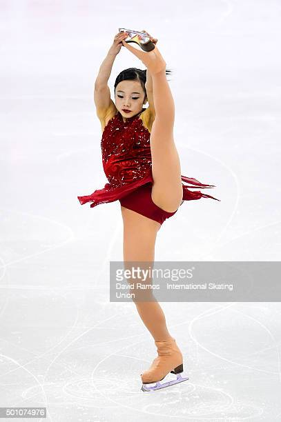 Marin Honda of Japan during the Junior Ladies Free program during day three of the ISU Grand Prix of Figure Skating Final 2015/2016 at the Barcelona...