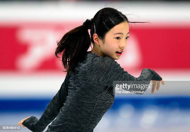 Marin Honda of Japan in action during a practice session ahead of the ISU Junior Senior Grand Prix of Figure Skating Final at Palais Omnisports...