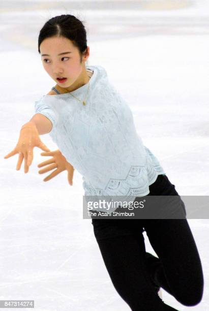 Marin Honda of Japan in action during a practice session ahead of the US International Fifure Skating Classic at SLC Sports Complex on September 14...
