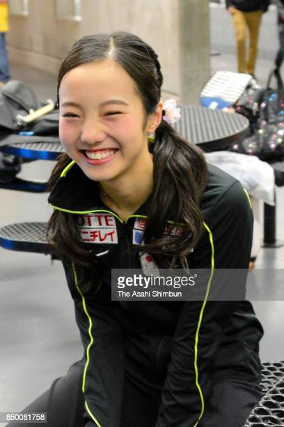 Marin Honda of Japan is seen after competing in the Ladies Singles Short Program during day two of the US International Figure Skating Classic at the...