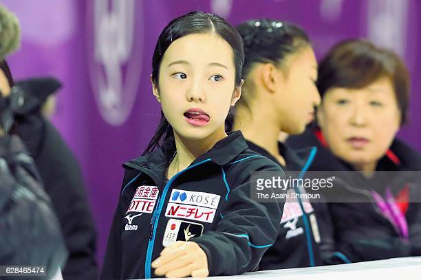 Marin Honda of Japan looks on during a practice session ahead of the ISU Junior Senior Grand Prix of Figure Skating Final at Palais Omnisports...