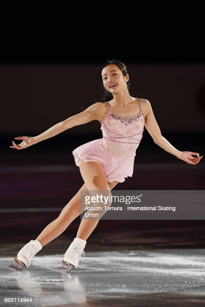 Marin Honda of Japan performs her routine in the exhibition on the day five of the World Junior Figure Skating Championships at Taipei Multipurpose...