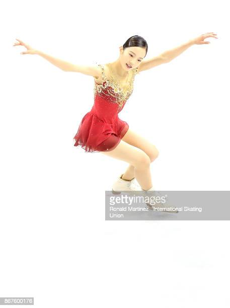 Marin Honda of Japan performs in the ladies free skating during the ISU Grand Prix of Figure Skating at Brandt Centre on October 28 2017 in Regina...