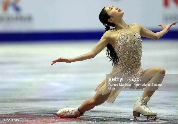 Marin Honda of Japan performs in the Ladie's short program during the ISU Grand Prix of Figure Skating at Brandt Centre on October 27 2017 in Regina...