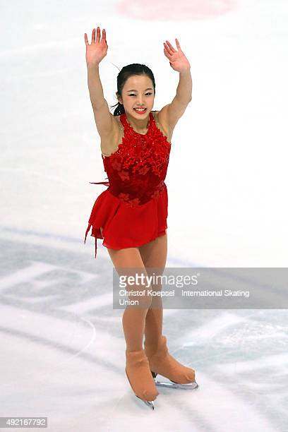 Marin Honda of Japan skates during the junior ladies free skating of the ISU Junior Grand Prix at Dom Sportova on October 10 2015 in Zagreb Croatia