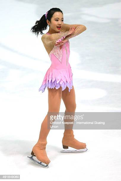 Marin Honda of Japan skates during the junior ladies short dance of the ISU Junior Grand Prix at Dom Sportova on October 8 2015 in Zagreb Croatia