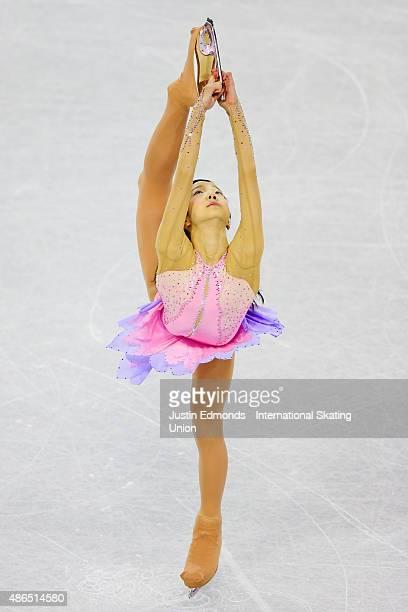 Marin Honda of Japan skates during the junior ladies short program at the ISU Junior Grand Prix of Figure Skating at World Arena on September 4 2015...