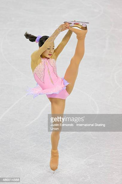 Marin Honda of Japan skates during the junior ladies short program at the ISU Junior Grand Prix of Figure Skating at World Arena on September 4 2015...
