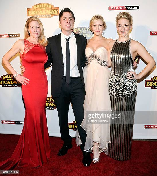 Marin Mazzie Zach Braff Betsy Wolfe and Helene York attend the 'Bullets Over Broadway' opening night celebration at The Metropolitan Museum on April...