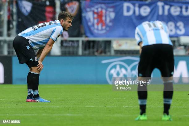Marin Pongracic of 1860 Munich Michael Liendl of 1860 Munich looks dejected during the Second Bundesliga match between TSV 1860 Muenchen and VfL...