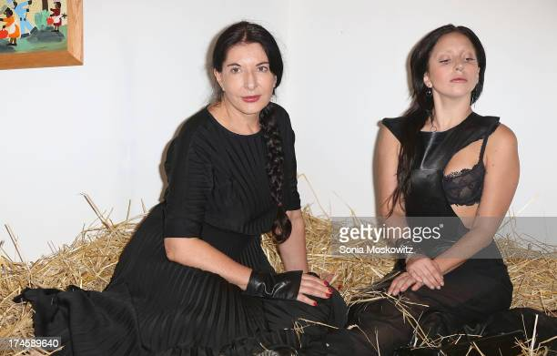 Marina Abramovic and Lady Gaga attend The 20th Annual Watermill Center Summer Benefit at The Watermill Center on July 27 2013 in Water Mill New York