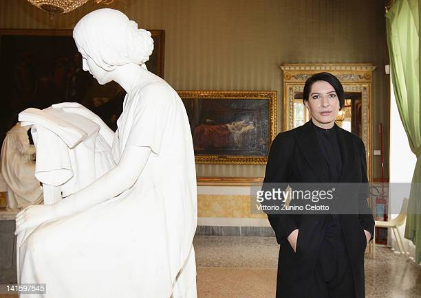Marina Abramovic poses at Villa Reale on March 19 2012 in Milan Italy