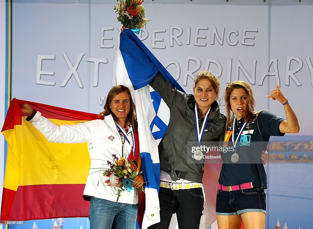 <a gi-track='captionPersonalityLinkClicked' href=/galleries/search?phrase=Marina+Alabau&family=editorial&specificpeople=5487042 ng-click='$event.stopPropagation()'>Marina Alabau</a> of Spain Bronze, Lee Korzits of Israel Gold and Zofia Noceti-Klepacka of Poland Silver celebrate after the