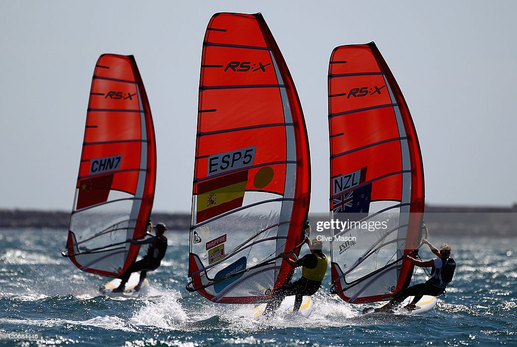 <a gi-track='captionPersonalityLinkClicked' href=/galleries/search?phrase=Marina+Alabau&family=editorial&specificpeople=5487042 ng-click='$event.stopPropagation()'>Marina Alabau</a> of Spain in action during an RS-X Womens Class race during day seven of the Weymouth and Portland International Regatta at the Weymouth and Portland National Sailing Academy on August 8, 2011 in Weymouth, England.