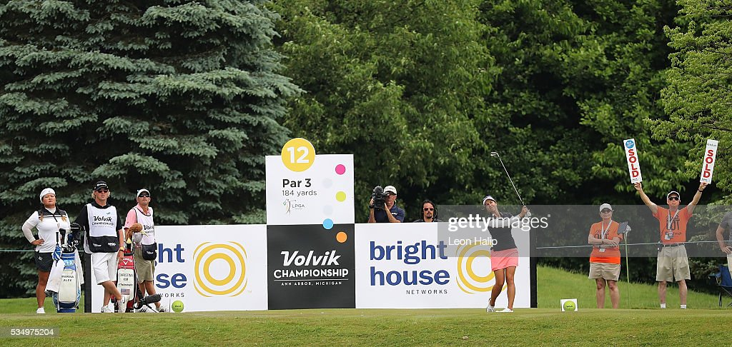 Marina Alex from the United States hits her tee shot on the twelfth hole during the third round of the LPGA Volvik Championship on May 28, 2016 at Travis Pointe Country Club Ann Arbor, Michigan.