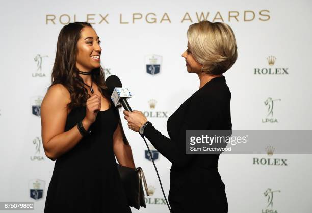 Marina Alex of the United States is interviewed as she arrives at the LPGA Rolex Players Awards at The RitzCarlton Golf Resort on November 16 2017 in...