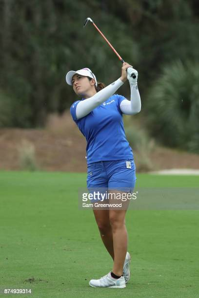 Marina Alex of the United States plays a shot on the second hole during round one of the CME Group Tour Championship at the Tiburon Golf Club on...