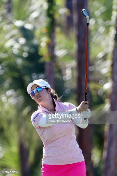 Marina Alex of the United States plays a shot on the second hole during round three of the CME Group Tour Championship at the Tiburon Golf Club on...