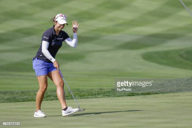 Marina Alex of USA action on the 9th hole during an KEB HANA BANK LPGA Championship Final at Sky72 Ocean Golf range in Incheon South Korea