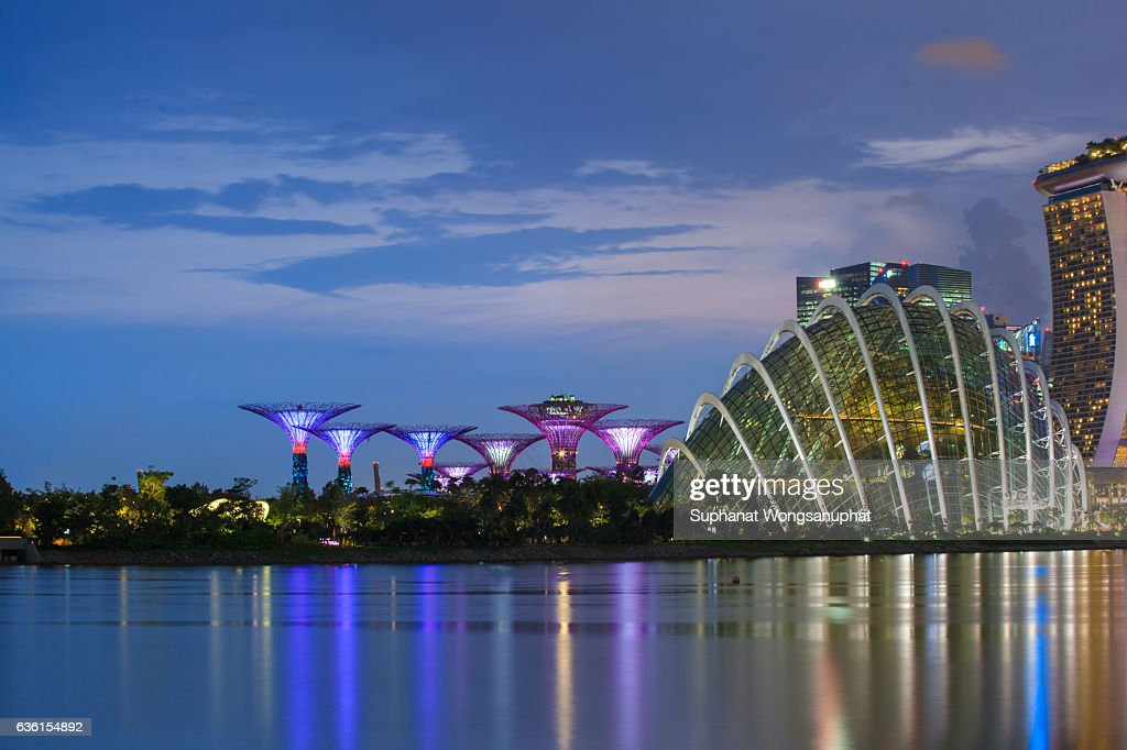 marina bay sands hotel with gardens by the bay singapore skyline at night in singapore - Garden By The Bay Marina Bay Sands