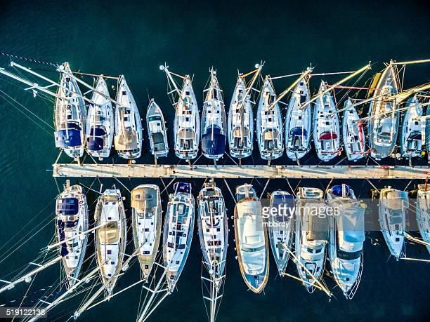 Marina bay with sailboats and yachts