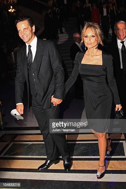 Marina Berlusconi and her husband leave the Grazia Masquerade Ball at Opera Garnier on October 5 2010 in Paris France