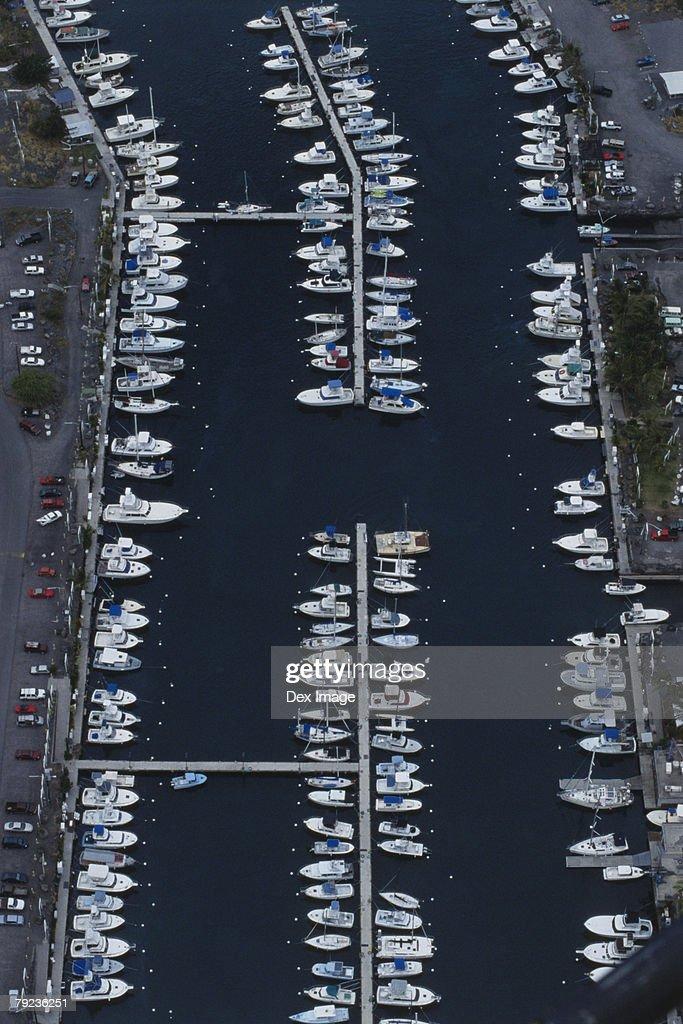 Marina, Big Island, Hawaii, aerial view : Stock Photo